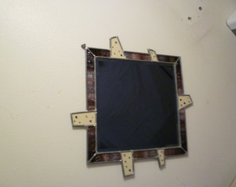 Square Abstract Fused Glass Mirror