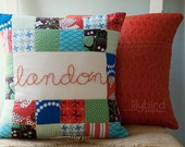 Personalized Hand Embroidered Quilted Pillow Cover 14x14 - Made to Order with RED embroidery