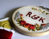 RESERVED FOR MARSHA - Custom Floral Embroidery Hoop - Bridal / Anniversary -Colorful Florals on Raw Silk.