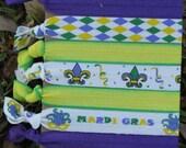 7 Pk Mardi Gras Fleur de Lis Green Purple Gold Feathers Mask Beads Diamond Print Chevron Knot Hair Ties Stretch Fold Over Elastic Pony Tail