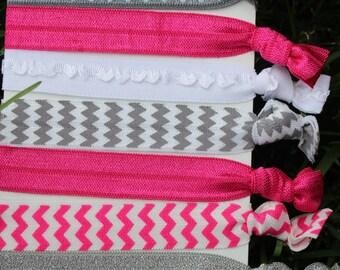 7 Pack Hot Pink gray Zebra polka dot glitter ruffle chevron Hair Ties Stretch Fold Over Elastic Pony Tail Holder Bracelet