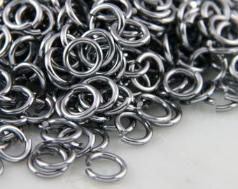 18 ga 3/16, 200 Black Ice Anodized Aluminum Chain Mail Jump Rings