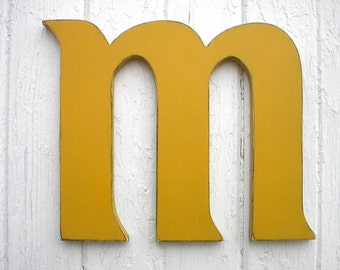 personalized wooden wall letter m distressed kings gold 12 tall lower case rustic wood name letters baby shower gift kids wall art