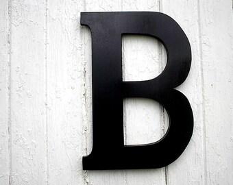 "Black Wooden Letter 18"" B Large Modern Rustic Wall Art Kids Shower Gifts decor Initial Wedding guest book alternative"