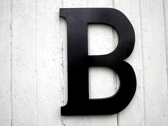 Black wooden letter 18 b large modern rustic wall art for Black wall letters