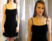 90s Little Black (Velvet) Dress with Adjustable Back S/M
