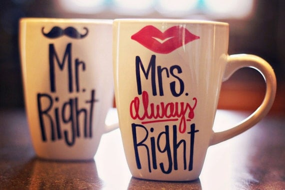 mr right and mrs always right lips and mustache coffee mugs. Black Bedroom Furniture Sets. Home Design Ideas
