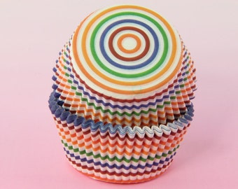 Rainbow Stripes Cupcake Liners 2'' Standard Size , Baking Cups