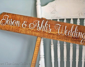 Personalized Bride and Groom Wedding Sign, Directional Wedding Sign WS-12
