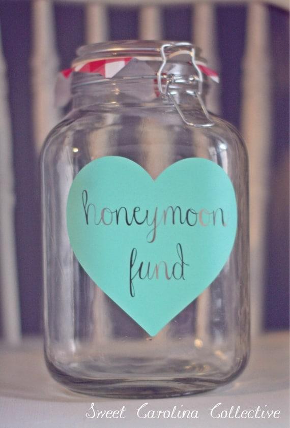 Honeymoon Fund Jar | Date Night Jar | Wedding Decor | Wedding Fund Jar | Dollar Dance Jar | Wedding Decoration - WJ-1