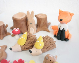 """Woodland Porcupine fondant cake topper Hedgehog Edible Cake Topper -1 qty 3"""" for a woodland party, camping party, birthday"""