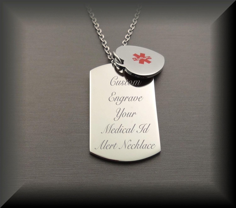 Medic Alert Necklace: Medical Alert Necklace Medical Alert Tag Dog Tag & Heart