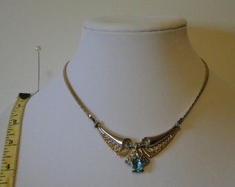 vintage aqua blue rhinestone necklace goldtone