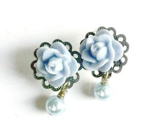 Blue Rose Stud Earrings Capri blue matching dangling pearl Handmade Gift