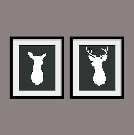 Mounted Deer Head (2) Deer and Buck Stag Antlers Digital 8x10 Art Print Modern Home Decor Affordable Wall Art Wedding Gift - Charcoal