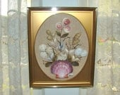 Vintage Sea Shell Art Framed. Boho Beach Cottage Wall Decor. Vintage Hand-Crafted Kitsch. Shell Flowers on Burlap.