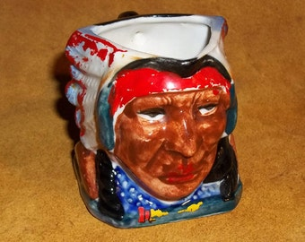 Vintage Indian Chief in Headdress Pitcher, made in Japan,