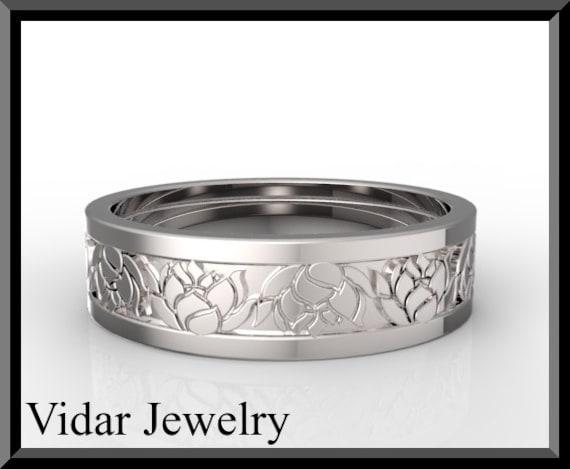 lotus flower mens gold weddingunique wedding ring for mensmens wedding band - Lotus Wedding Ring