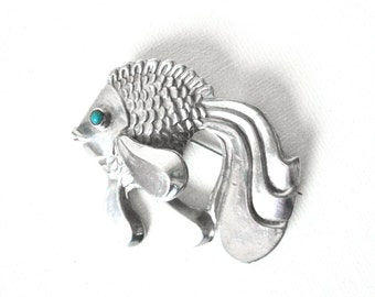 Sterling Silver Angel Goldfish Brooch With Turquoise Eye And Long Flowing Tail