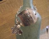 "Hand Stamped  ""Beach Girl"" Flattened Repurposed Silver Plated Spoon Bracelet"