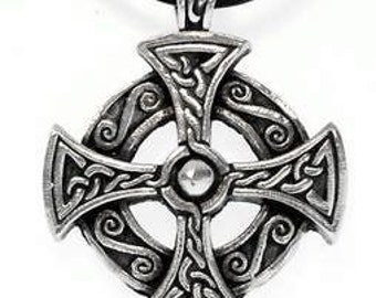 Pewter Solar Cross Celtic Druid Irish Pagan Pendant on Leather or Cotton Necklace  (25B)