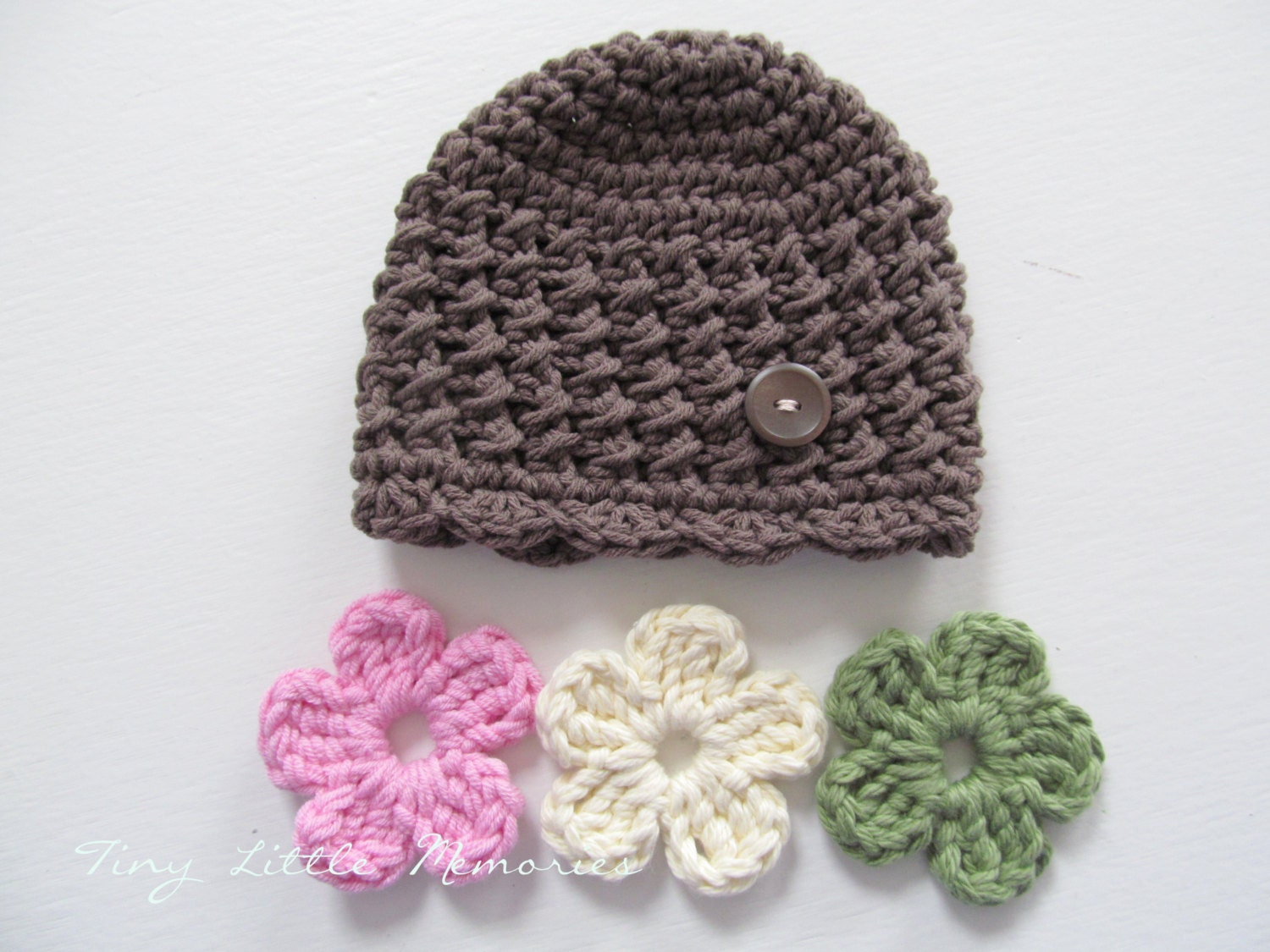 Baby Crochet Hat With Interchangeable Flowers 5 Included