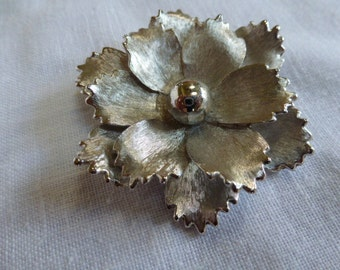 Vintage Large Silver Tone Pastelli Flower Brooch Pin