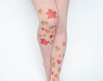 Autumn Leaves Pink Pantyhose Tights,Red Green Yellow Print Umbrella Leggings, Tattoo Tights, Pantyhose Handmade Printed Tights