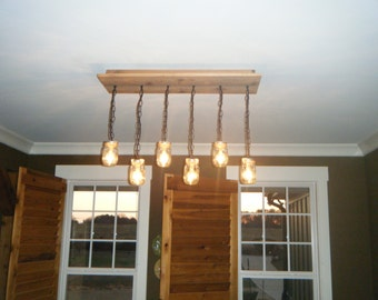 Skinny cedar mason jar chandelier with 6 lights