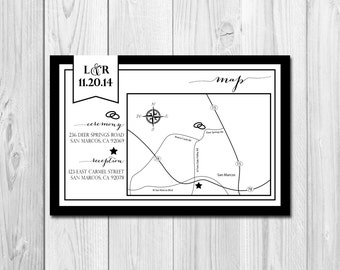 Customizable Event/Wedding Map - Classic Flag - DIY - Printable