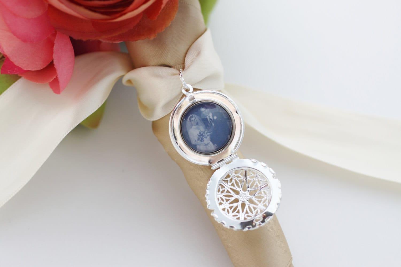 Bridal Bouquet Locket Charm : Diy kit vintage inspired photo locket bouquet charm in silver