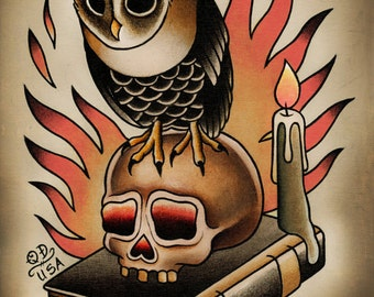 Owl and Skull Traditional Tattoo Print