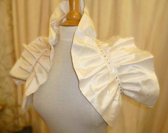 Ivory silk and crystal Bridal Wedding Wrap Collar Ruffled Shrug.