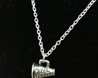 """Pewter Megaphone Cheerleader Charm necklace Sterling Silver 18"""" Chain"""