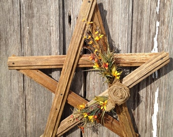 Primitive chic 1800's barn wood hand crafted wall hanging star