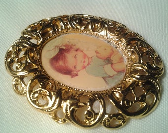 vintage costume jewelry victorian brooch pin cameo lady girl mini portrait