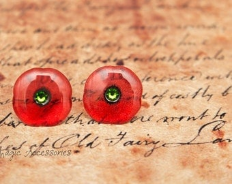 Handmade Poppy stud earrings. Come in a gift box.