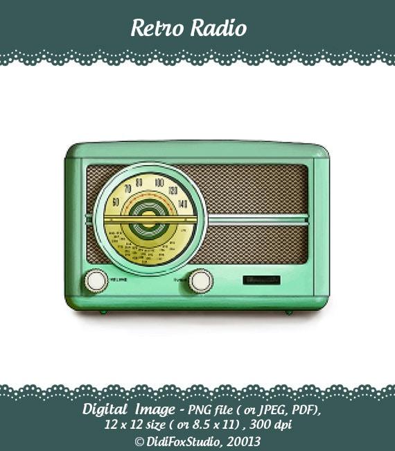 Retro Vintage Radio Green Turquoise Cyan Printable by DidiFox
