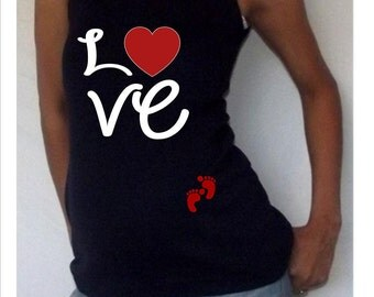 """Funny,cute, maternity Tank """"Love"""" with footprints Perfect for valentine's day or everyday use,"""