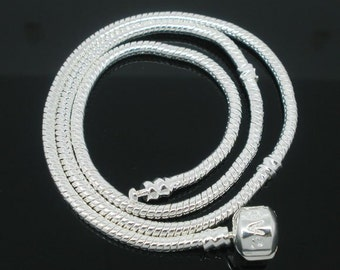 2 Snap Clasp Snake Chain Necklace Fit European Bead 45cm