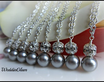 SALE.Set of Eight, Bridesmaid Gift, Swarovski Light Champagne Ivory Grey Silver Pearl Necklaces, Bridesmaid Gift Set
