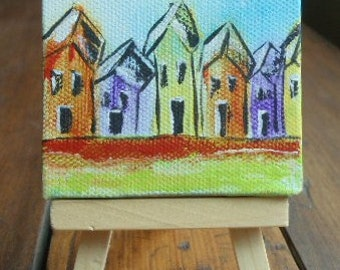 Mini Canvas Acrylic Painting on a 3 X 3 canvas with easel