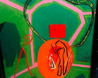 JEFFREY WASSERMAN ORIGINAL Oil on Canvas Painting New York Artist Koons Andy Warhol era Stunning Art vibrant orange green pink red