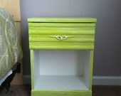 Lime green painted antique nightstand