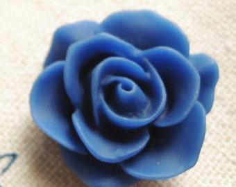 12 pcs Resin Rose cabochon 20mm-RC0049-48-cobalt blue