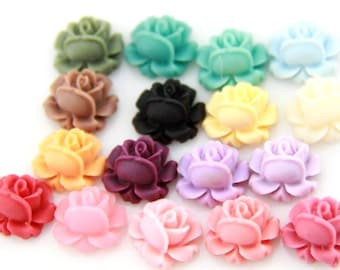 12 pcs of resin rose bud cabochon-13mm-0476-23-stock color ramdom mix