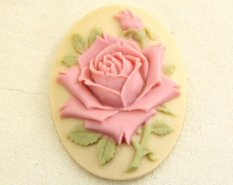 6pcs of vintage pink rose cameo 30x40mm -0400-vintage pink on cream