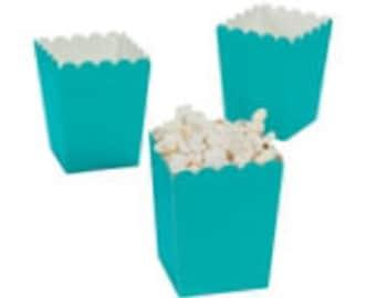 24 Mini Turquoise popcorn boxes treat favors