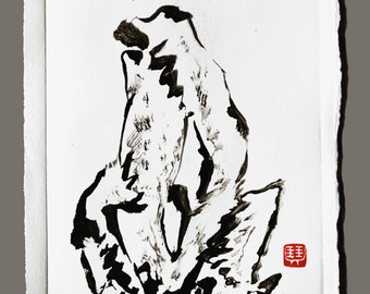 Rock 01 - Original Monotype - Wall Art - Chinese Painting - Japanese Painting - Scholar Garden