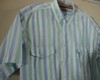 Vintage Levis Silver Label blue and mint green stripe shirt 1960s